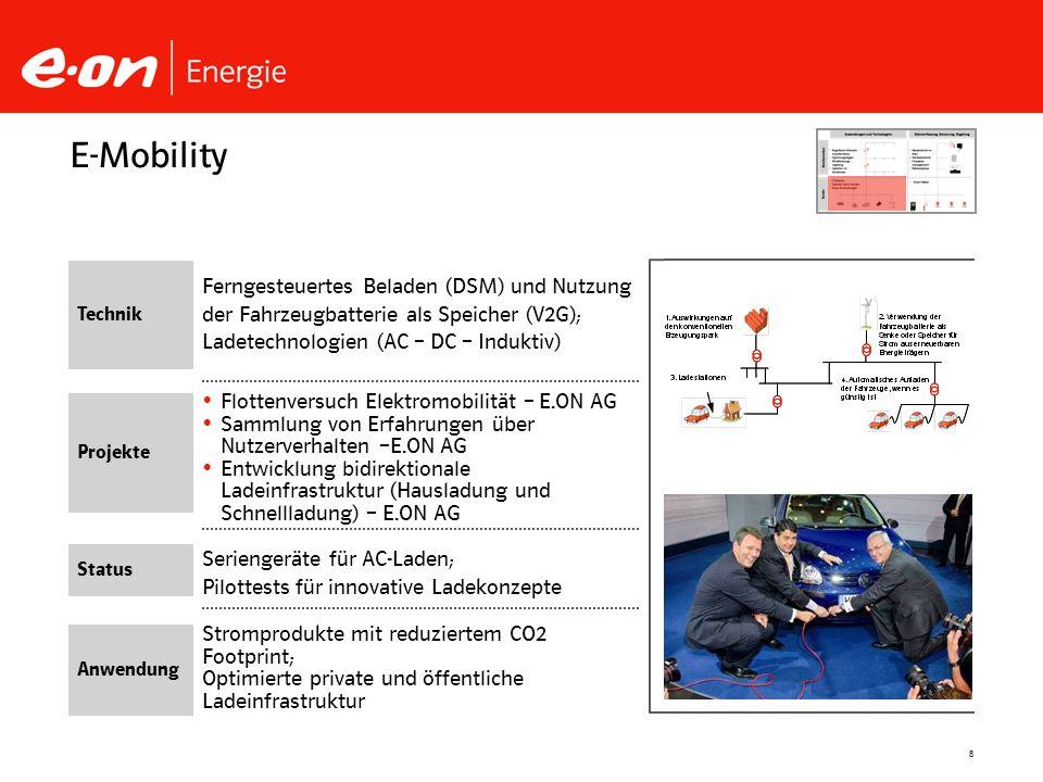 E-Mobility Technik. Ferngesteuertes Beladen (DSM) und Nutzung der Fahrzeugbatterie als Speicher (V2G); Ladetechnologien (AC – DC – Induktiv)
