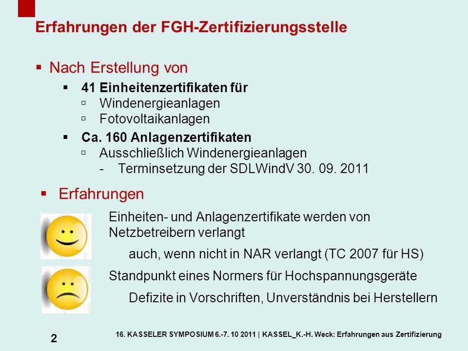 Erfahrungen der FGH-Zertifizierungsstelle