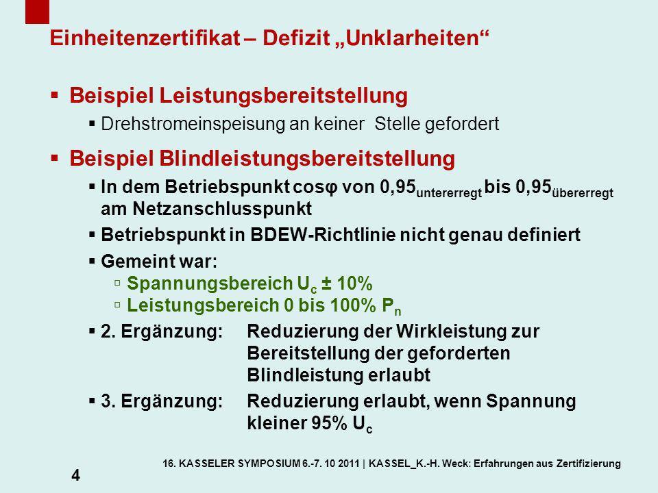 """Einheitenzertifikat – Defizit """"Unklarheiten"""