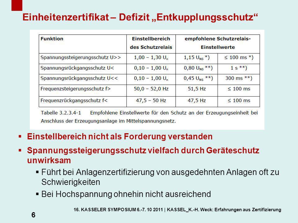 """Einheitenzertifikat – Defizit """"Entkupplungsschutz"""