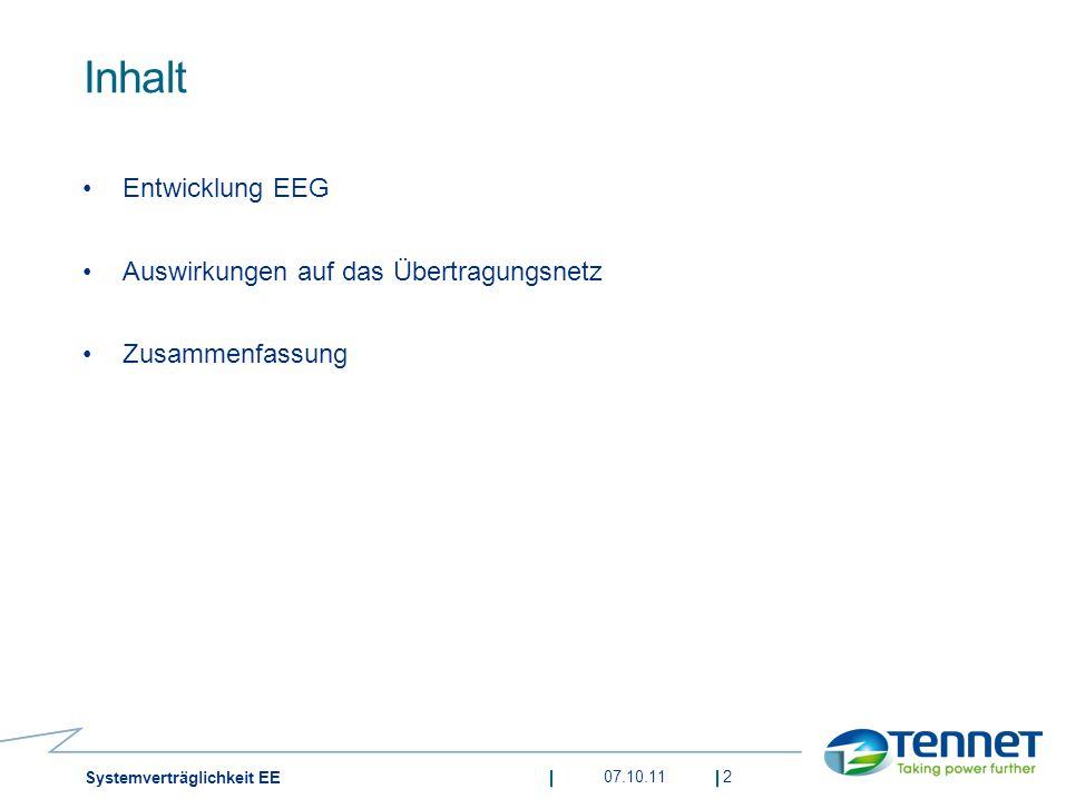 Inhalt Entwicklung EEG Auswirkungen auf das Übertragungsnetz