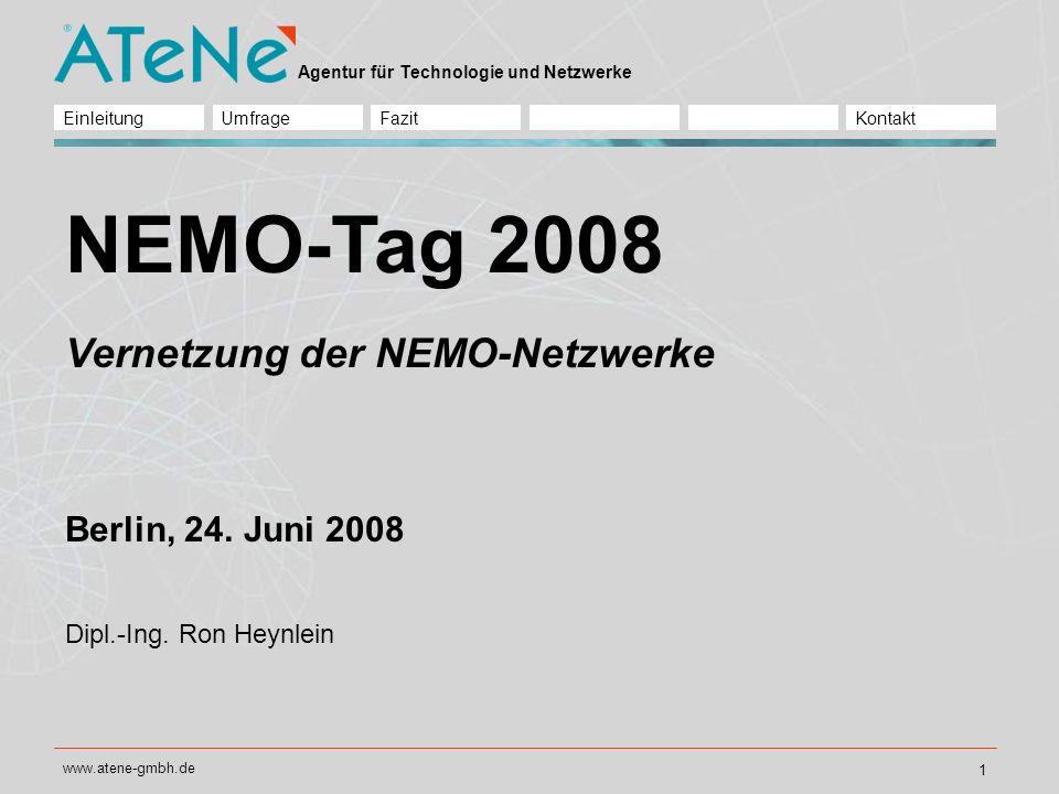 NEMO-Tag 2008 Vernetzung der NEMO-Netzwerke Berlin, 24. Juni 2008