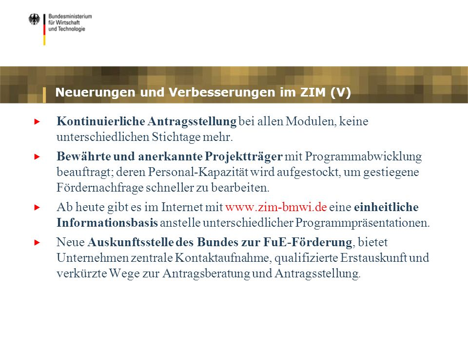 Neuerungen und Verbesserungen im ZIM (V)