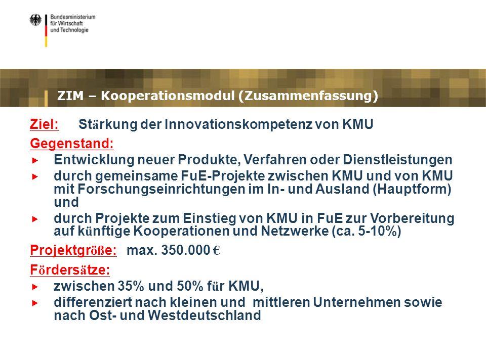 ZIM – Kooperationsmodul (Zusammenfassung)