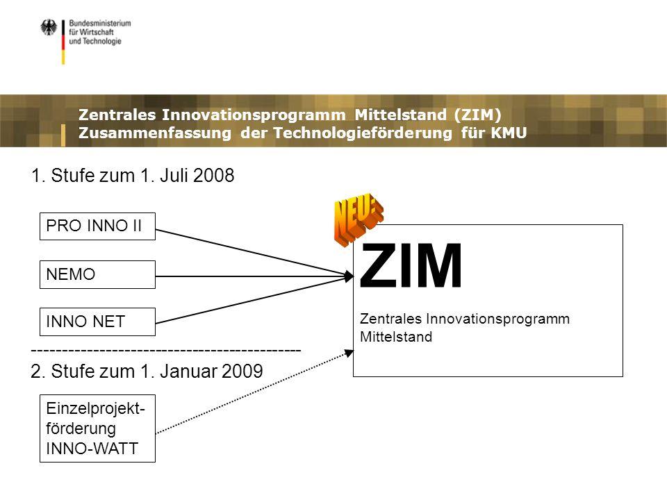 ZIM NEU: ZIM wird stufenweise realisiert. 1. Stufe zum 1. Juli 2008