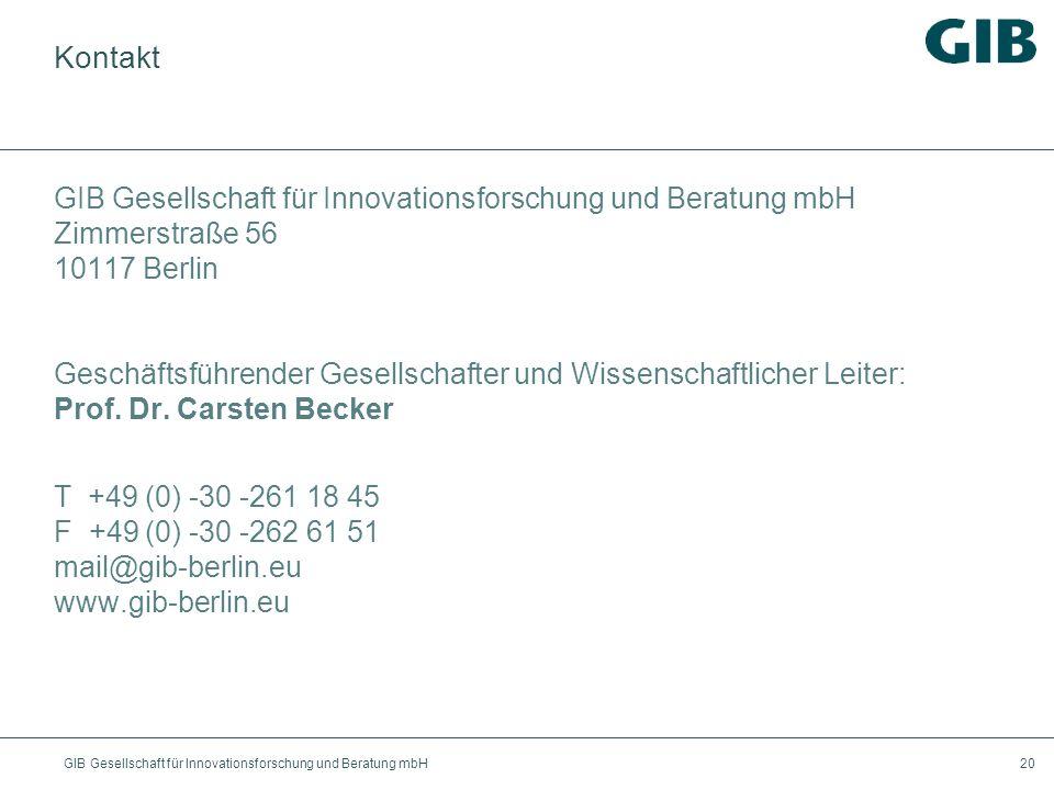 Kontakt GIB Gesellschaft für Innovationsforschung und Beratung mbH