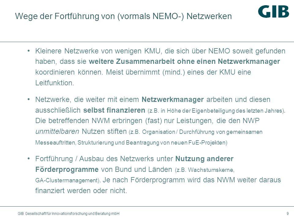 Wege der Fortführung von (vormals NEMO-) Netzwerken