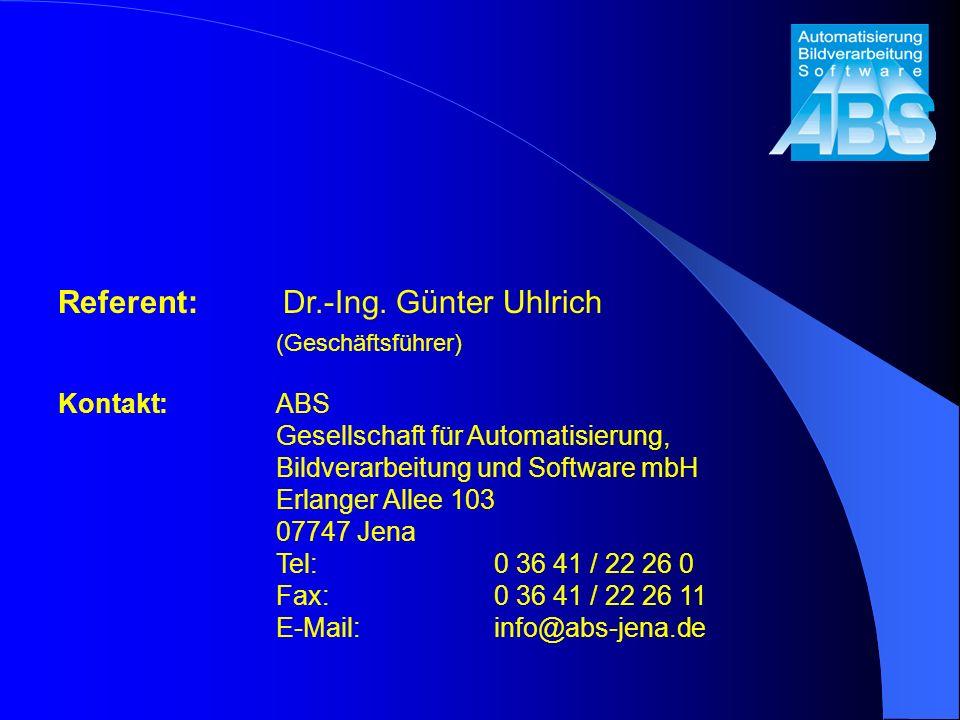Referent: Dr.-Ing. Günter Uhlrich (Geschäftsführer)