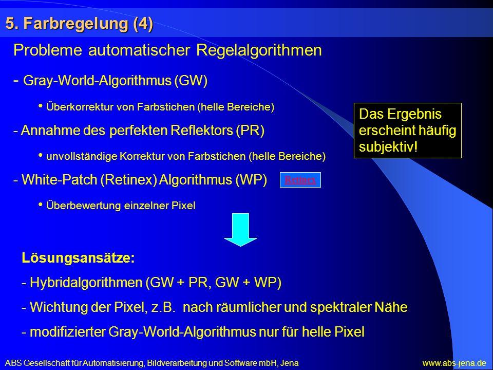 Probleme automatischer Regelalgorithmen - Gray-World-Algorithmus (GW)