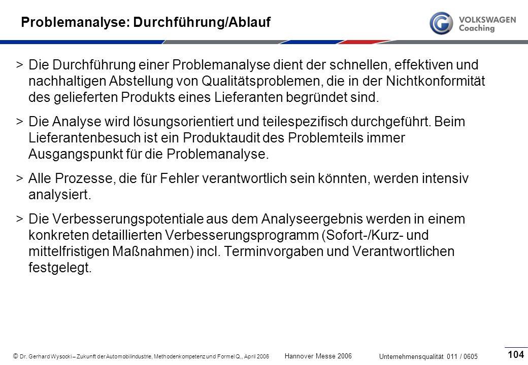 Problemanalyse: Durchführung/Ablauf