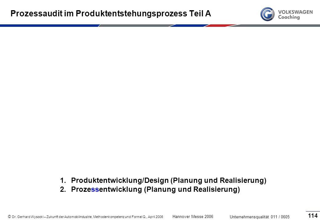 Prozessaudit im Produktentstehungsprozess Teil A