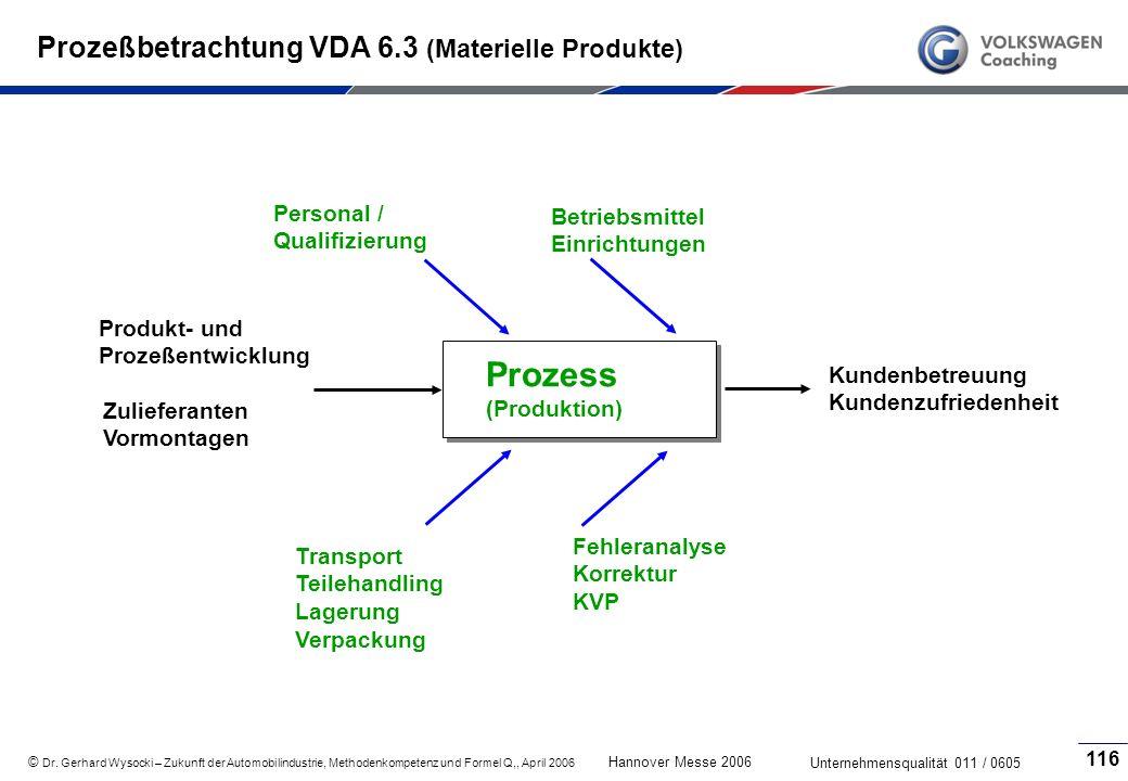 Prozeßbetrachtung VDA 6.3 (Materielle Produkte)