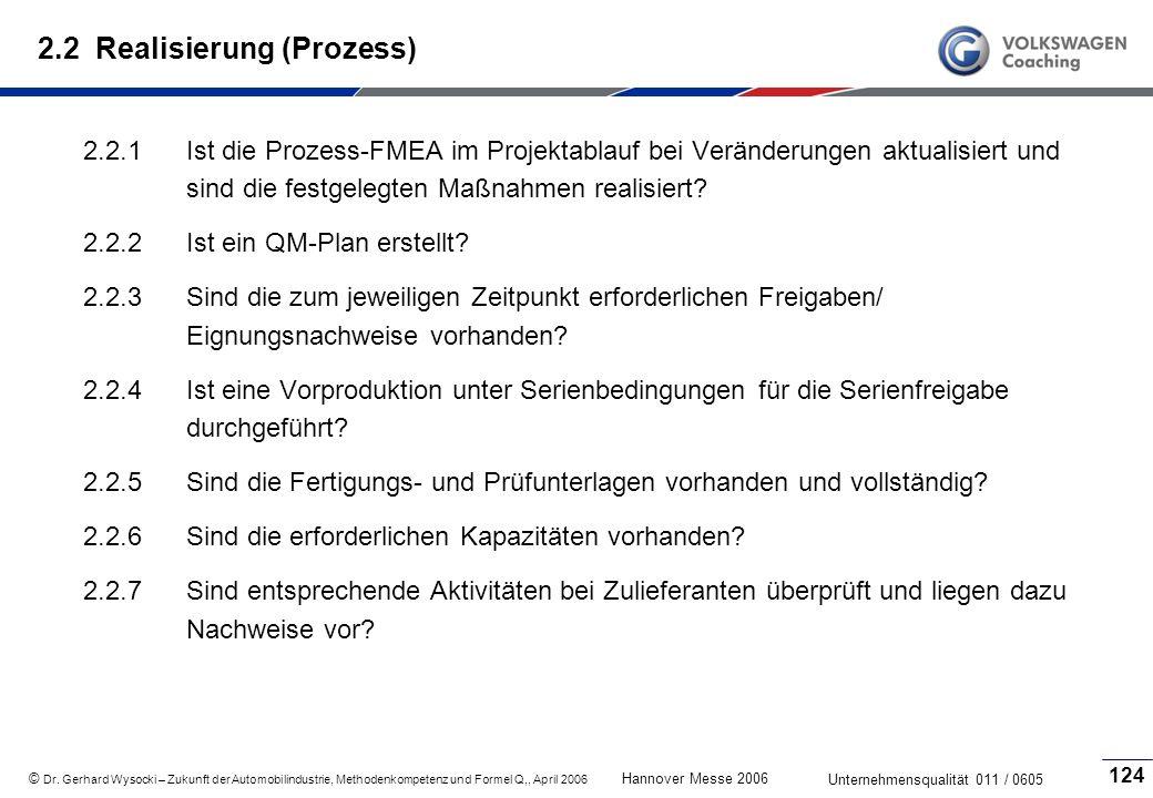 2.2 Realisierung (Prozess)