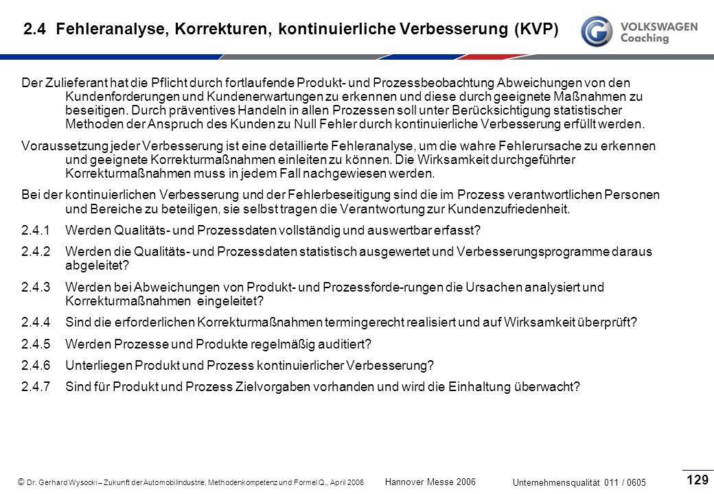 2.4 Fehleranalyse, Korrekturen, kontinuierliche Verbesserung (KVP)