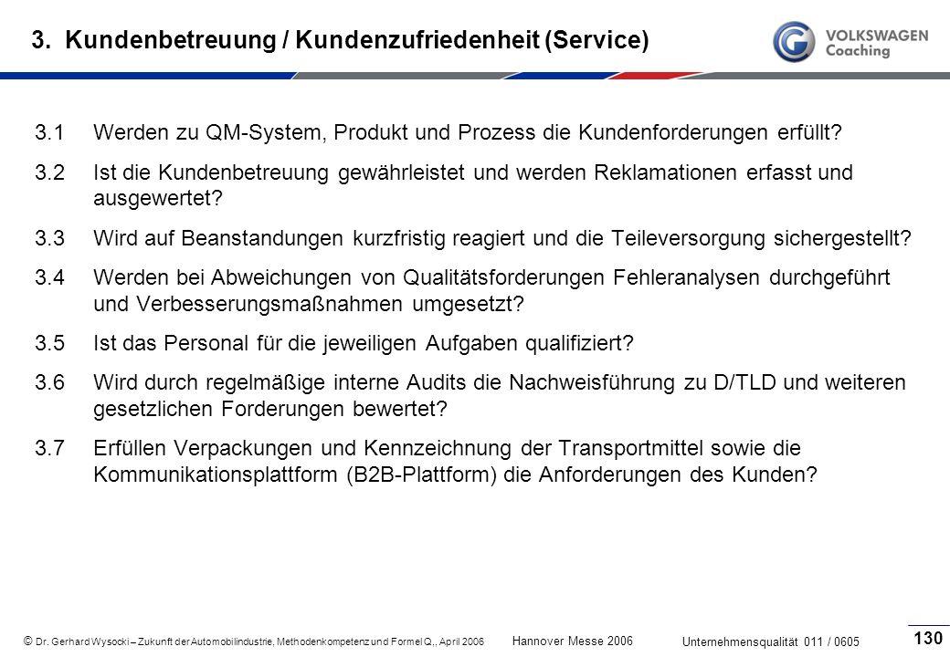 3. Kundenbetreuung / Kundenzufriedenheit (Service)
