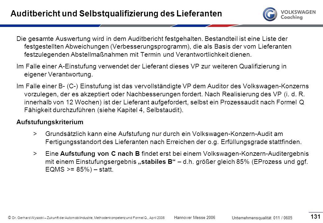 Auditbericht und Selbstqualifizierung des Lieferanten