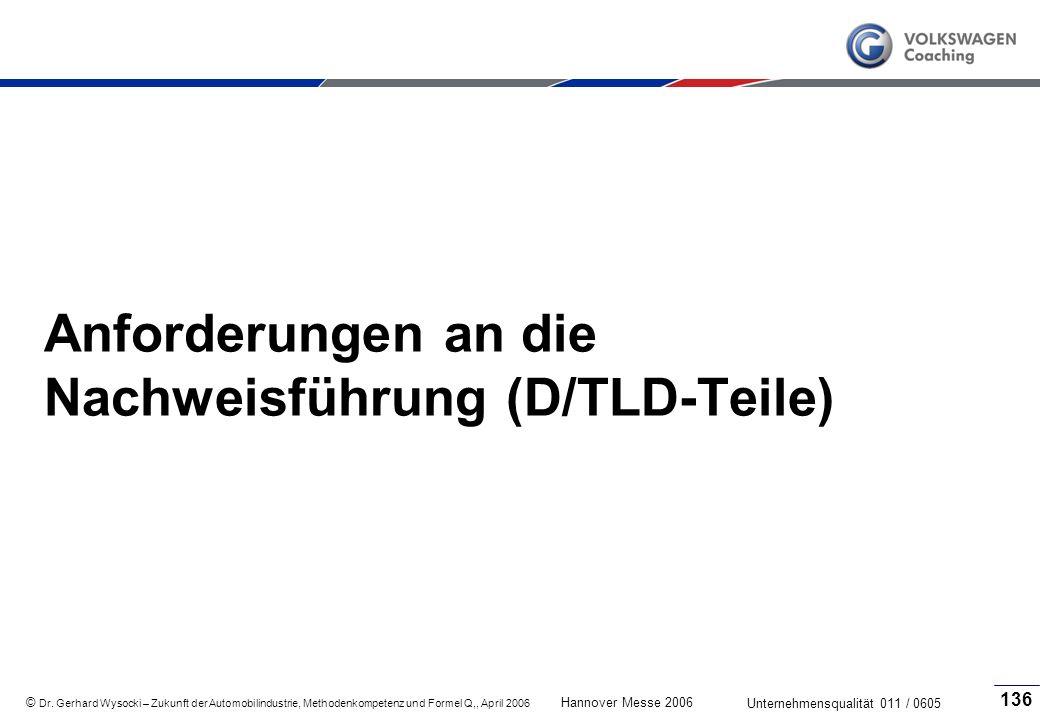 Anforderungen an die Nachweisführung (D/TLD-Teile)