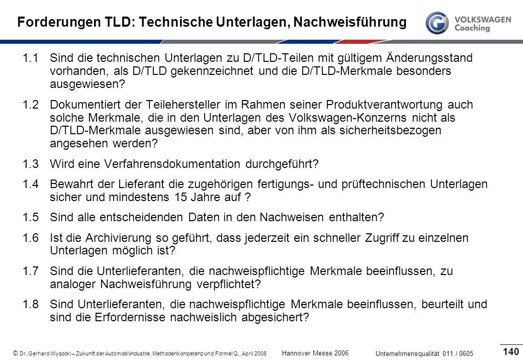 Forderungen TLD: Technische Unterlagen, Nachweisführung