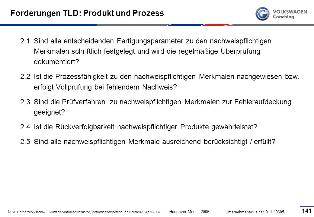 Forderungen TLD: Produkt und Prozess