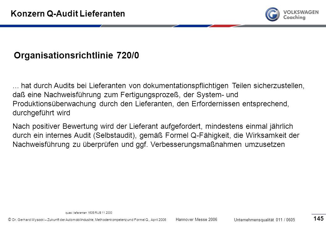 Konzern Q-Audit Lieferanten