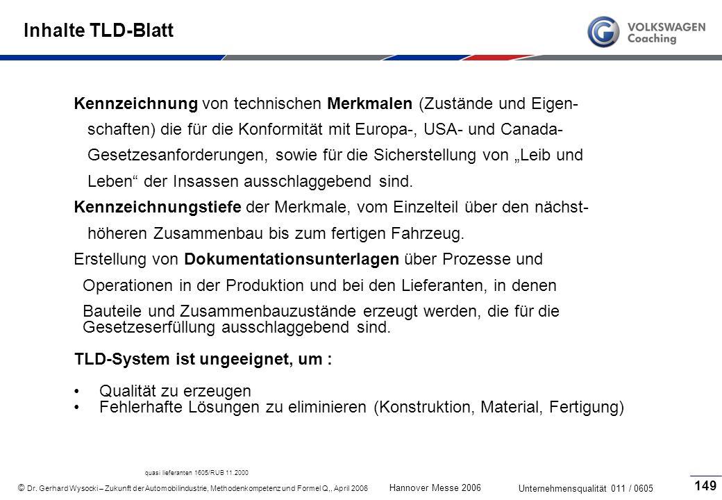 Inhalte TLD-Blatt Kennzeichnung von technischen Merkmalen (Zustände und Eigen- schaften) die für die Konformität mit Europa-, USA- und Canada-