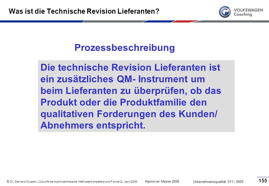 Was ist die Technische Revision Lieferanten