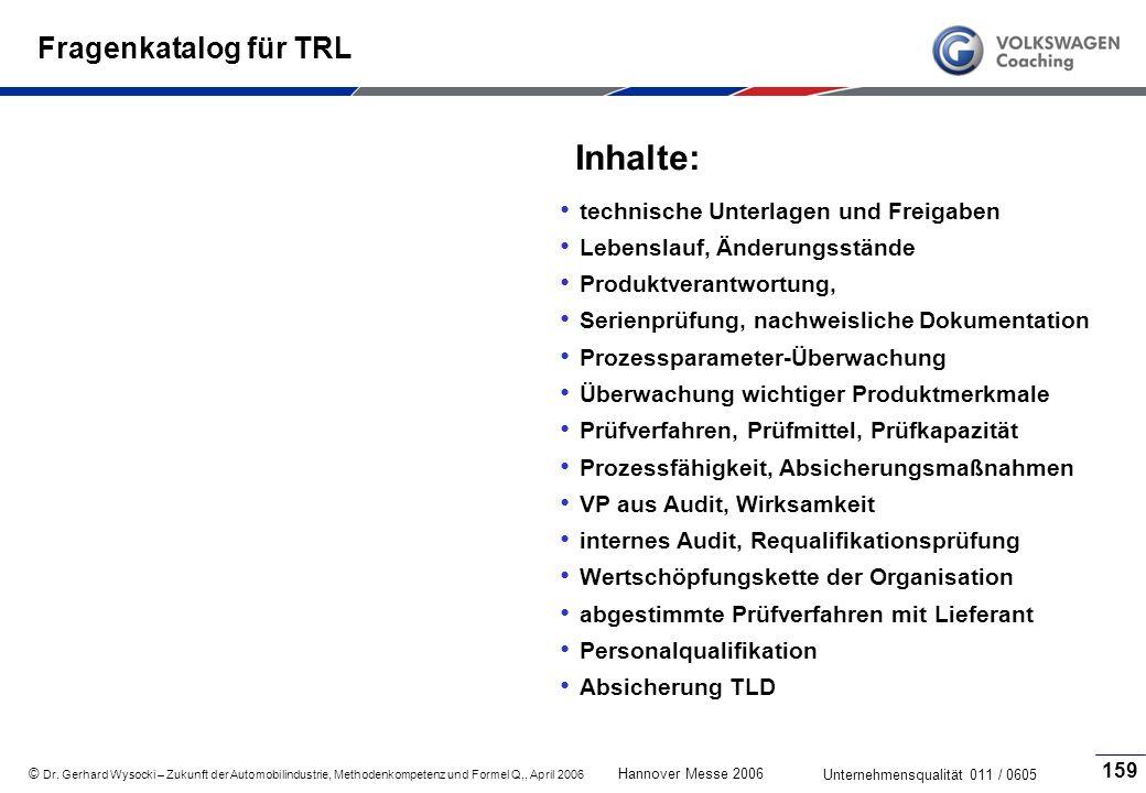 Inhalte: Fragenkatalog für TRL technische Unterlagen und Freigaben