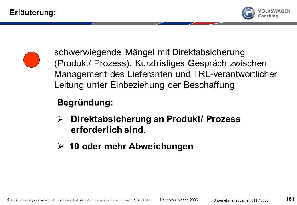 Direktabsicherung an Produkt/ Prozess erforderlich sind.