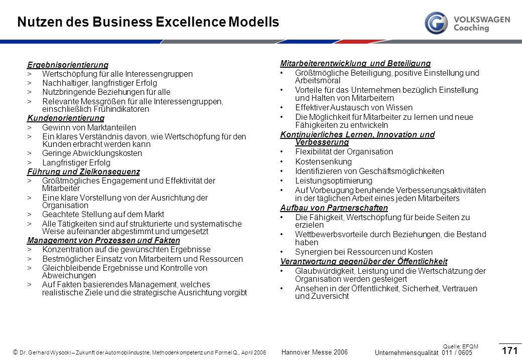 Nutzen des Business Excellence Modells