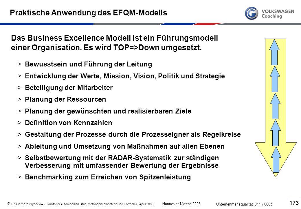 Praktische Anwendung des EFQM-Modells