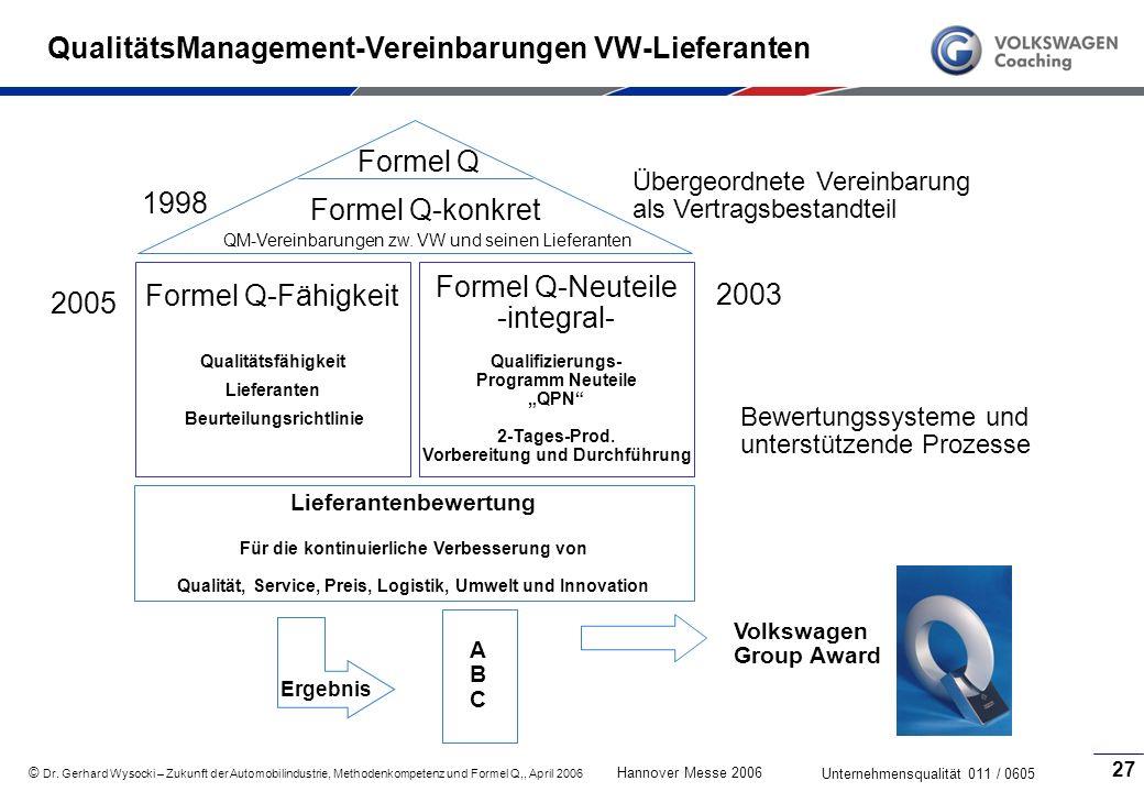QualitätsManagement-Vereinbarungen VW-Lieferanten