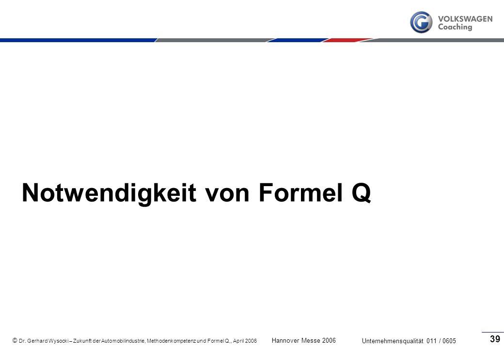 Notwendigkeit von Formel Q