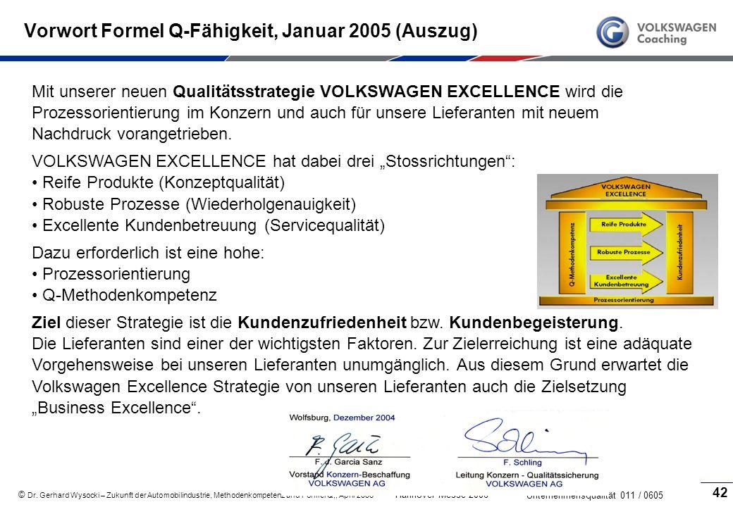 Vorwort Formel Q-Fähigkeit, Januar 2005 (Auszug)