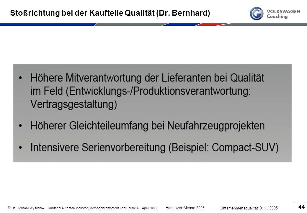 Stoßrichtung bei der Kaufteile Qualität (Dr. Bernhard)