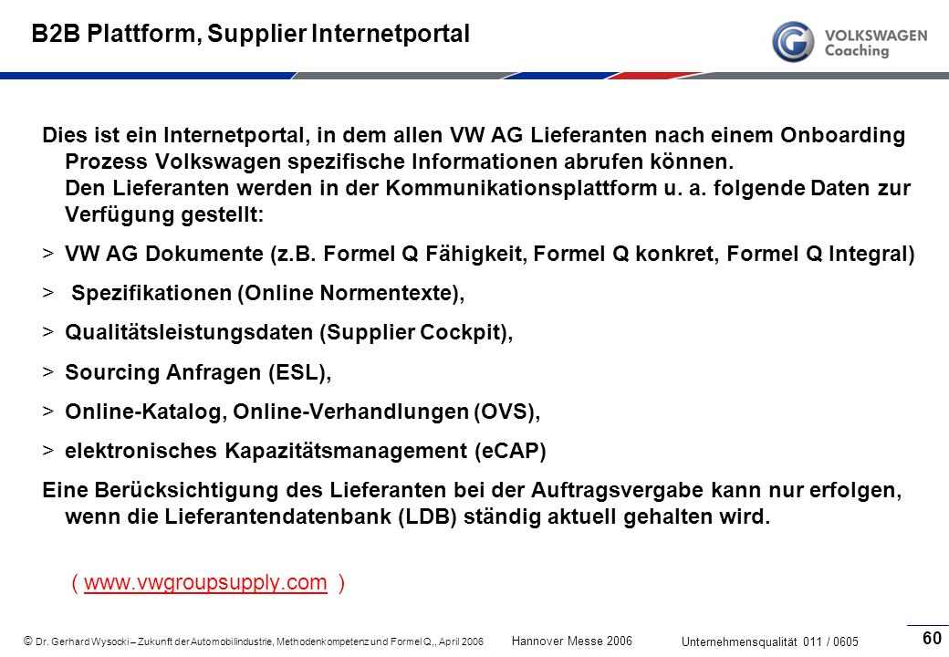 B2B Plattform, Supplier Internetportal
