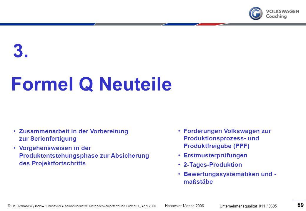 3. Formel Q Neuteile. Zusammenarbeit in der Vorbereitung zur Serienfertigung.