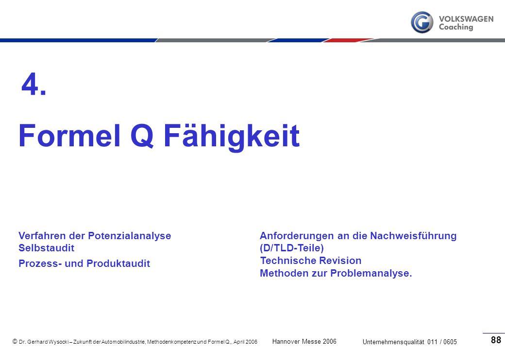 4. Formel Q Fähigkeit Verfahren der Potenzialanalyse Selbstaudit