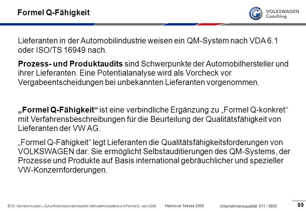 Formel Q-Fähigkeit Lieferanten in der Automobilindustrie weisen ein QM-System nach VDA 6.1 oder ISO/TS 16949 nach.