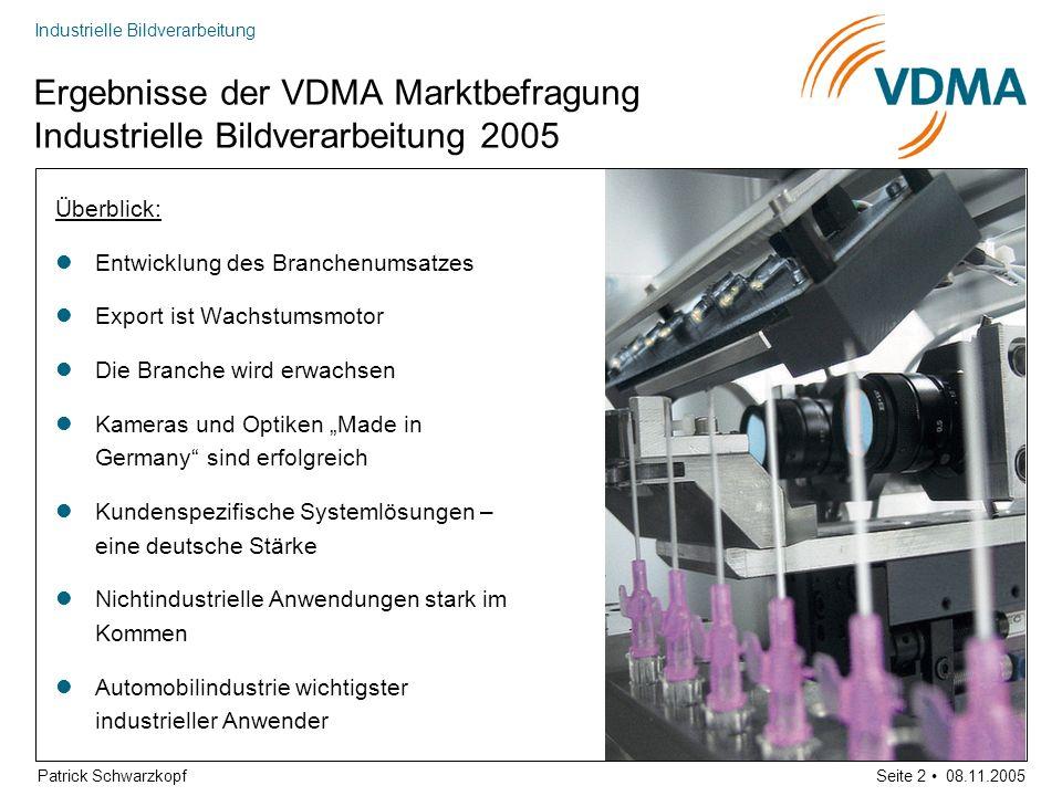 Ergebnisse der VDMA Marktbefragung Industrielle Bildverarbeitung 2005