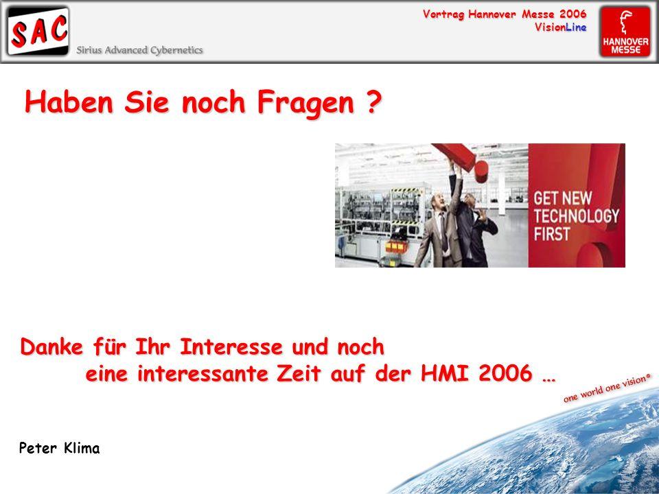 Haben Sie noch Fragen Danke für Ihr Interesse und noch eine interessante Zeit auf der HMI 2006 …