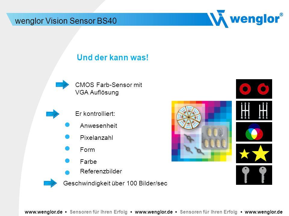 Und der kann was! CMOS Farb-Sensor mit VGA Auflösung Er kontrolliert: