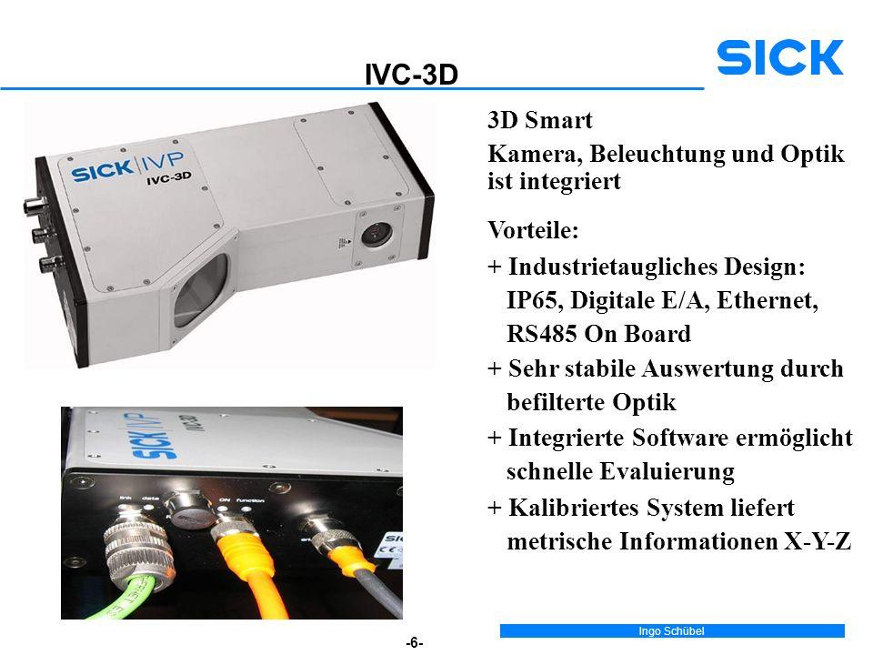IVC-3D 3D Smart Kamera, Beleuchtung und Optik ist integriert Vorteile: