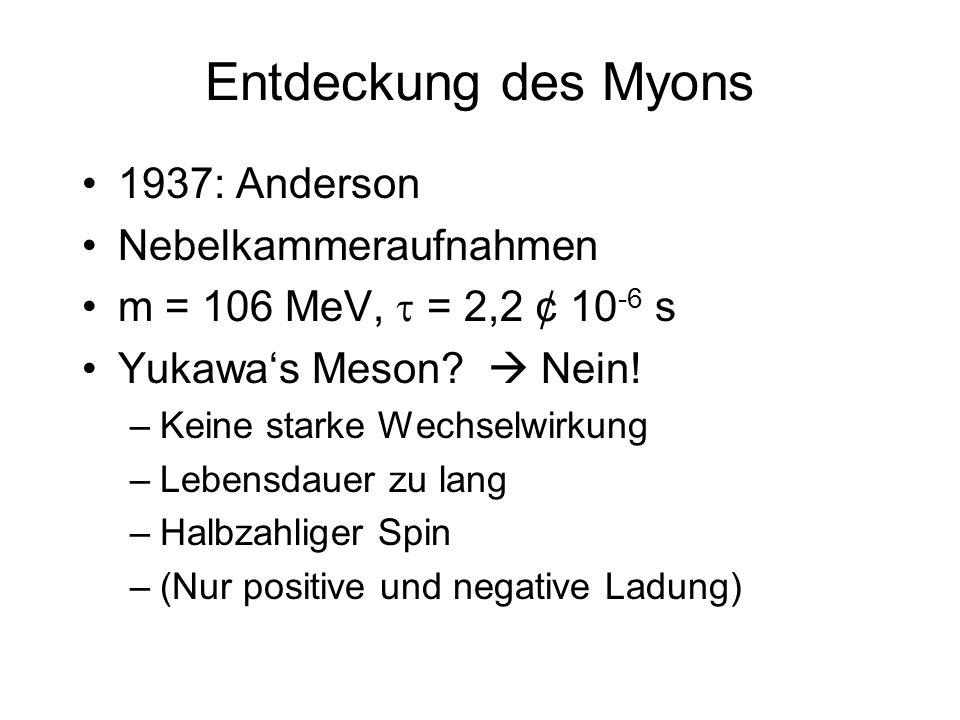 Entdeckung des Myons 1937: Anderson Nebelkammeraufnahmen