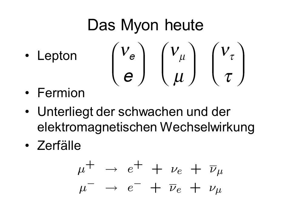 Das Myon heute Lepton Fermion