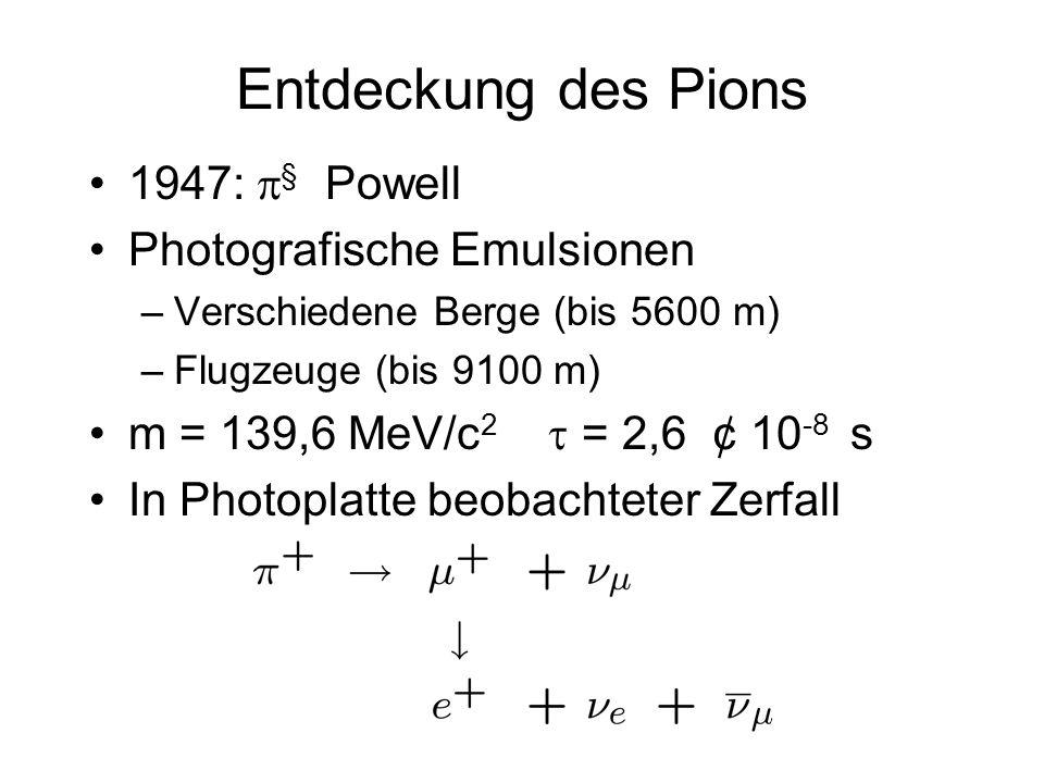 Entdeckung des Pions 1947: p§ Powell Photografische Emulsionen