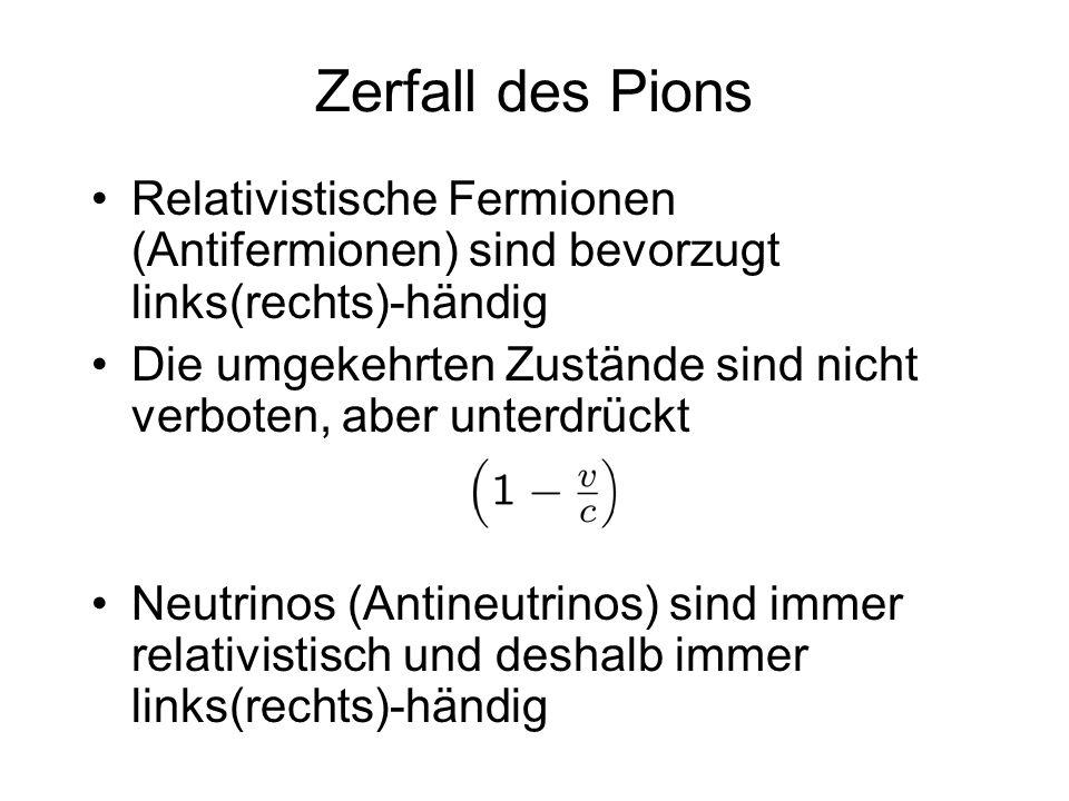 Zerfall des Pions Relativistische Fermionen (Antifermionen) sind bevorzugt links(rechts)-händig.
