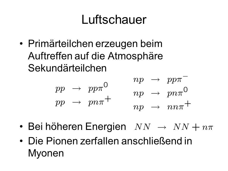 Luftschauer Primärteilchen erzeugen beim Auftreffen auf die Atmosphäre Sekundärteilchen. Bei höheren Energien.
