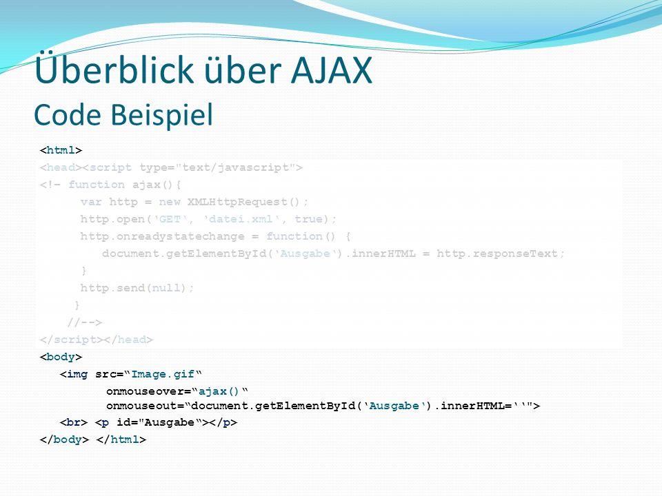 Überblick über AJAX Code Beispiel