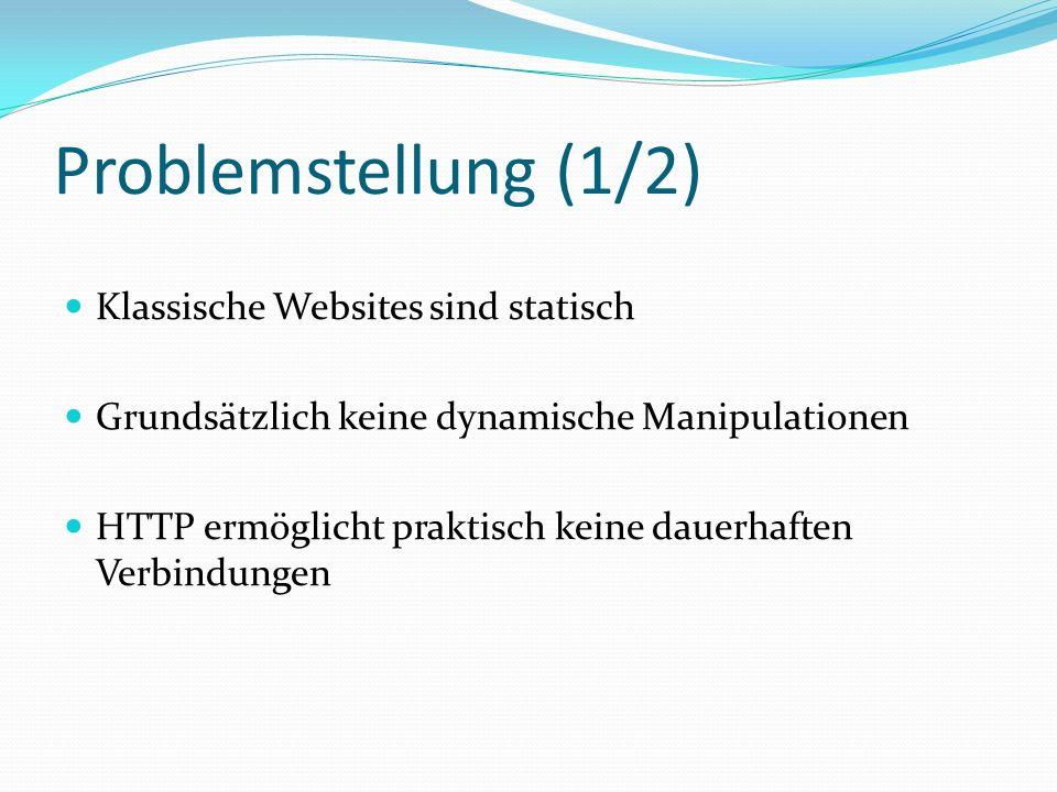 Problemstellung (1/2) Klassische Websites sind statisch
