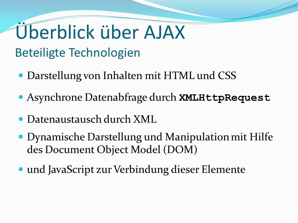 Überblick über AJAX Beteiligte Technologien